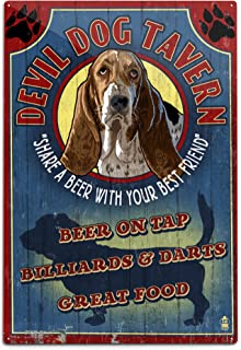 product image for Lantern Press Devil Dog Tavern Vintage Sign - Basset Hound 34154 (6x9 Aluminum Wall Sign, Wall Decor Ready to Hang)