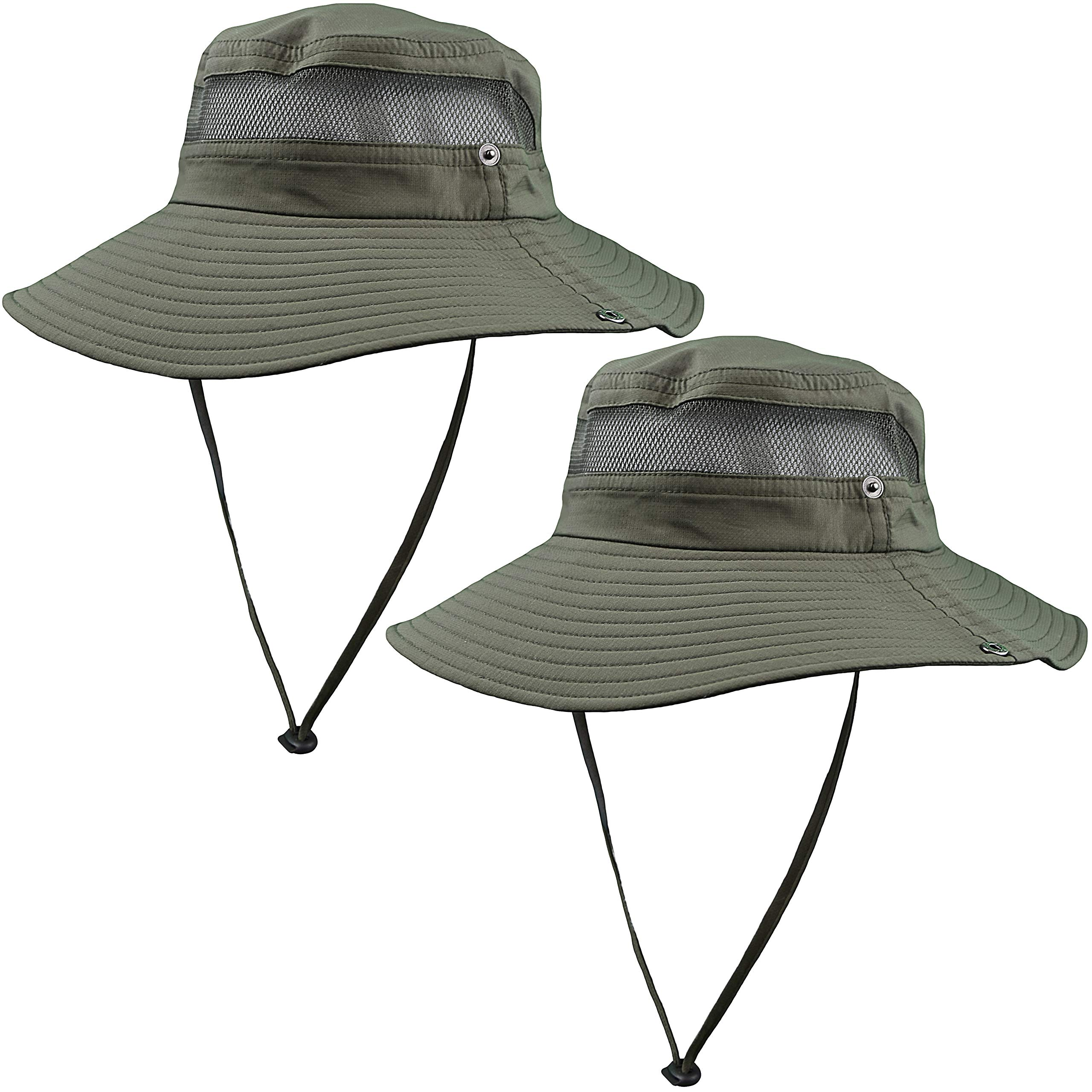 GearTOP Fishing Hat and Safari Cap with Sun Protection | Premium Hats for Men and Women (Army Green - 2 Pack) by GearTOP (Image #1)