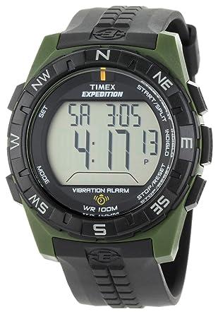 timex menu0027s t49852 expedition rugged digital vibration alarm greenblack resin strap watch