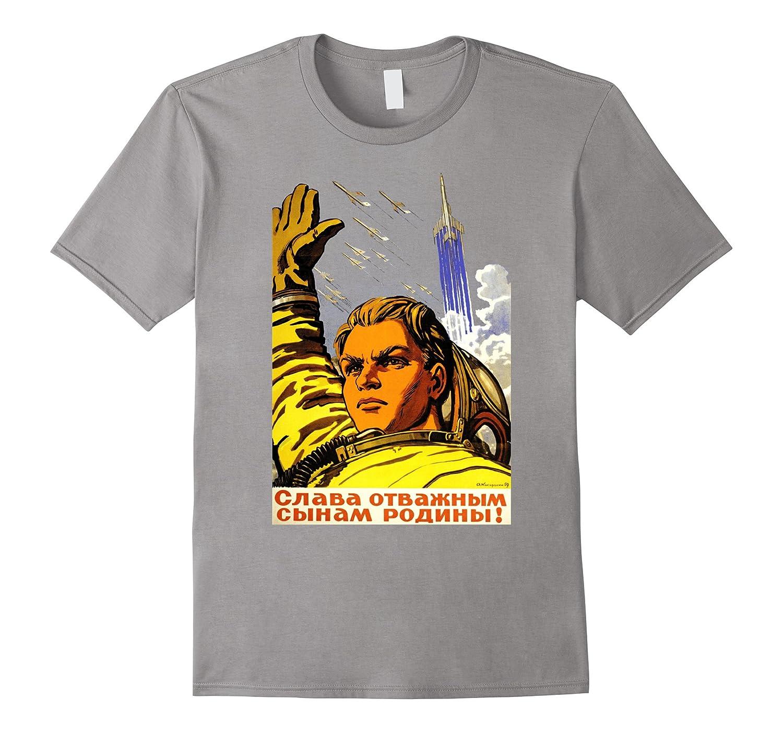 Cold war retro astronaut Soviet Space propaganda T shirt-RT
