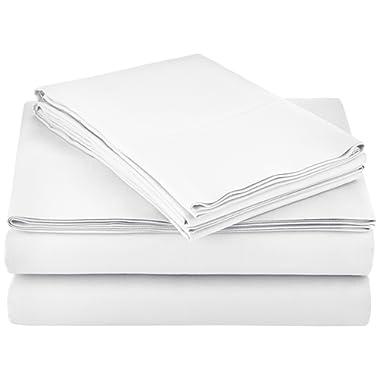 AmazonBasics Light-Weight Microfiber Sheet Set - Full, Bright White