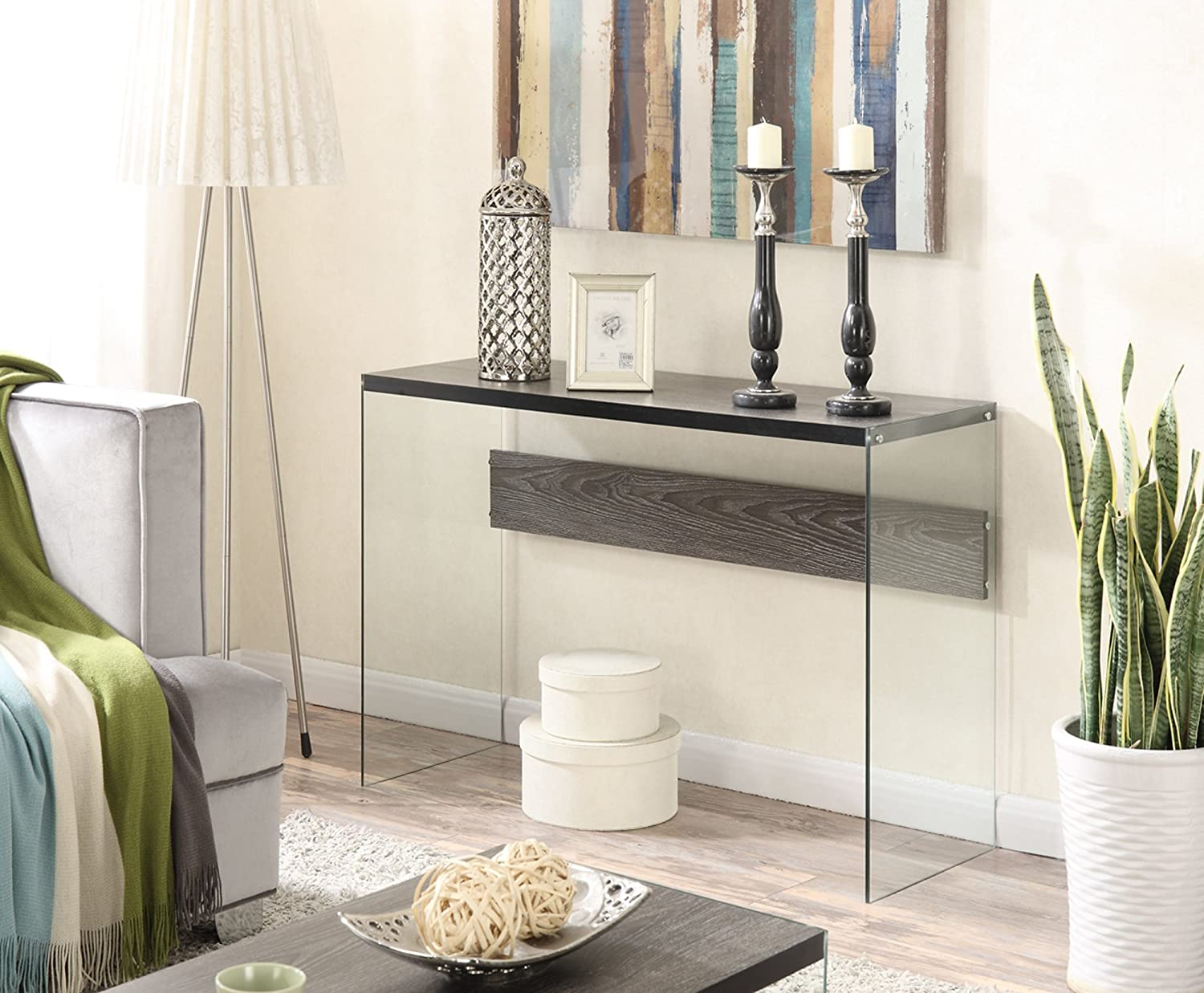 Amazon convenience concepts soho console table weathered amazon convenience concepts soho console table weathered gray kitchen dining geotapseo Choice Image