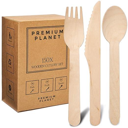 Juego de Cubiertos de Madera Premium Planet | 150x piezas | 50x Tenedores 50x Cuchillos 50x Cucharas | Cubiertos Grandes de madera desechables | ...