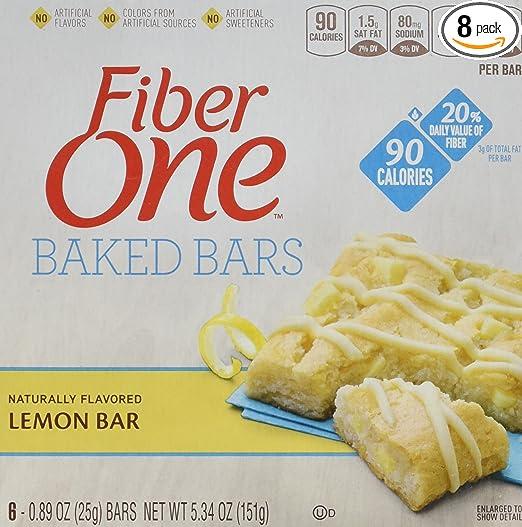 Fiber One 90 Calorie Bar, Lemon, 6 Count (Pack of 8)