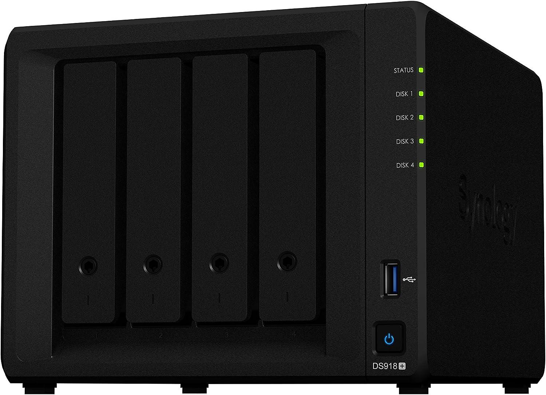 Synology DS918+ NAS Escritorio Ethernet Negro - Unidad Raid (12000 GB, Unidad de Disco Duro, Unidad de Disco Duro, SSD, M.2, SATA, 3000 GB, 2.5/3.5