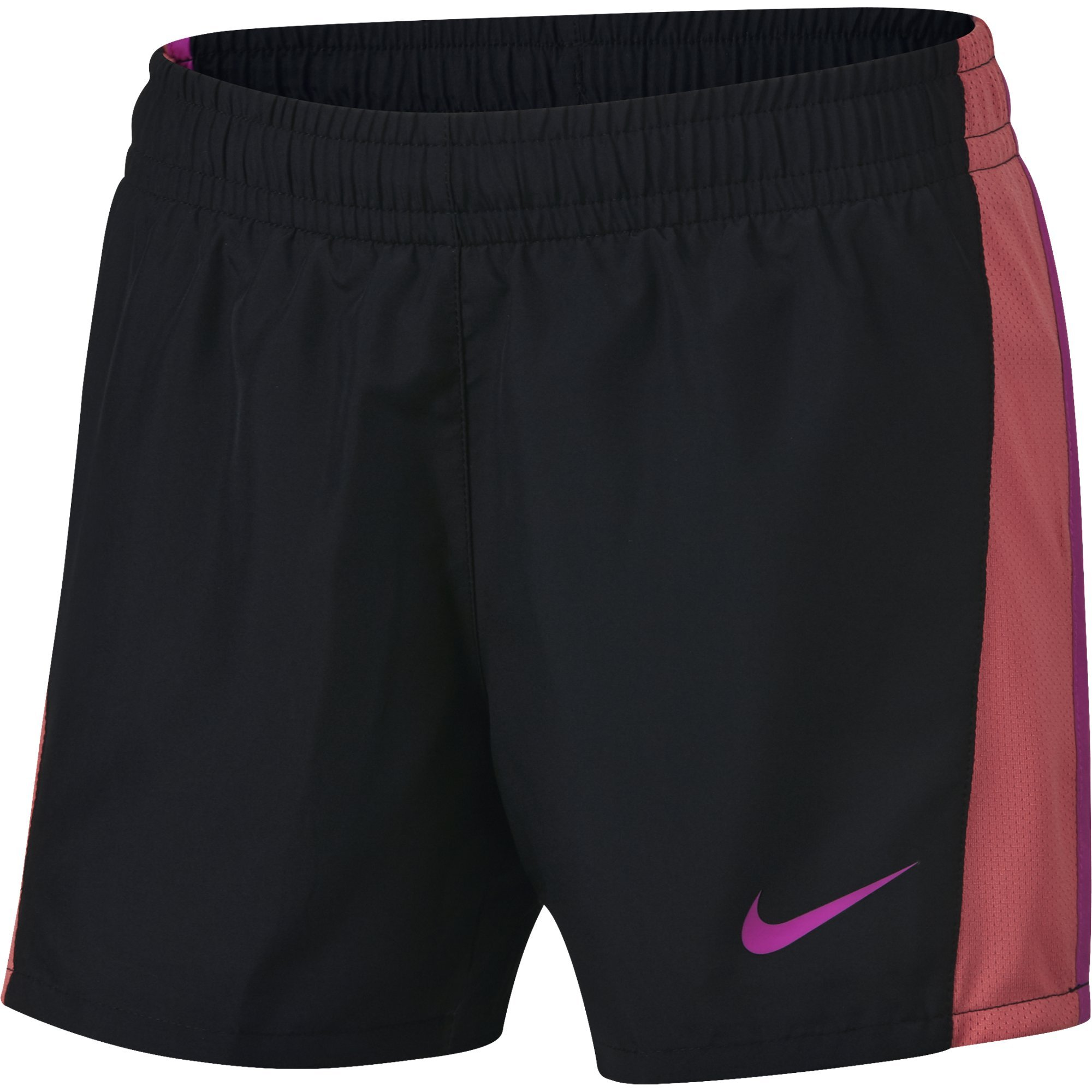 NIKE Girls' Dry 10K Running Shorts, Black/Sea Coral/Hyper Magenta, X-Large by Nike