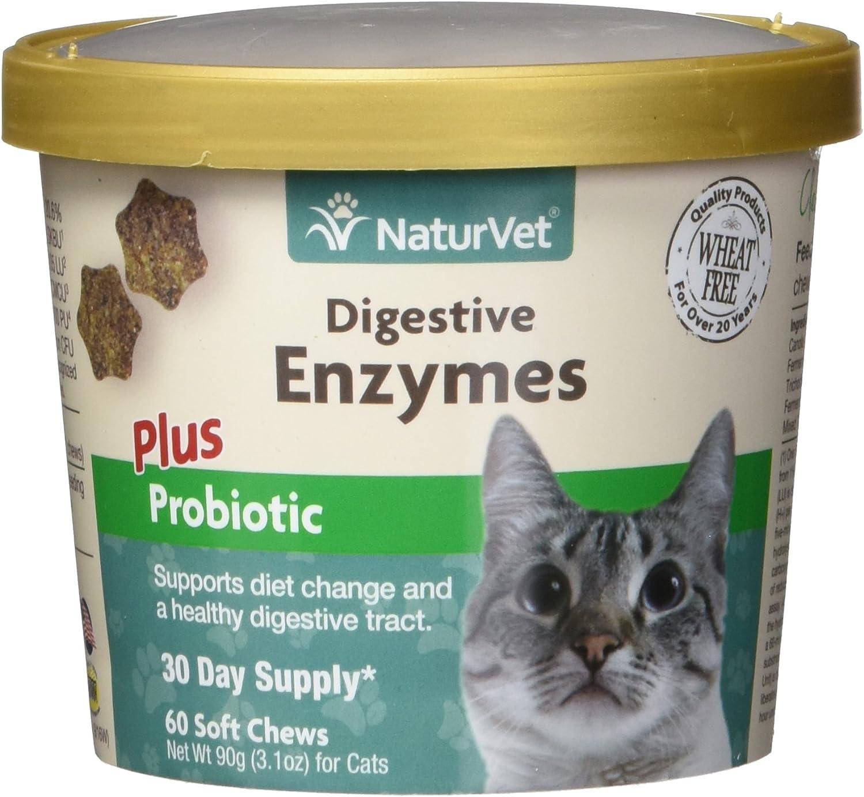 GARMON CORP naturvet Digestivo Enzimas Plus Probiotic para Gatos, 60 CT Dental para Suave, Fabricado en Estados Unidos: Amazon.es: Productos para mascotas