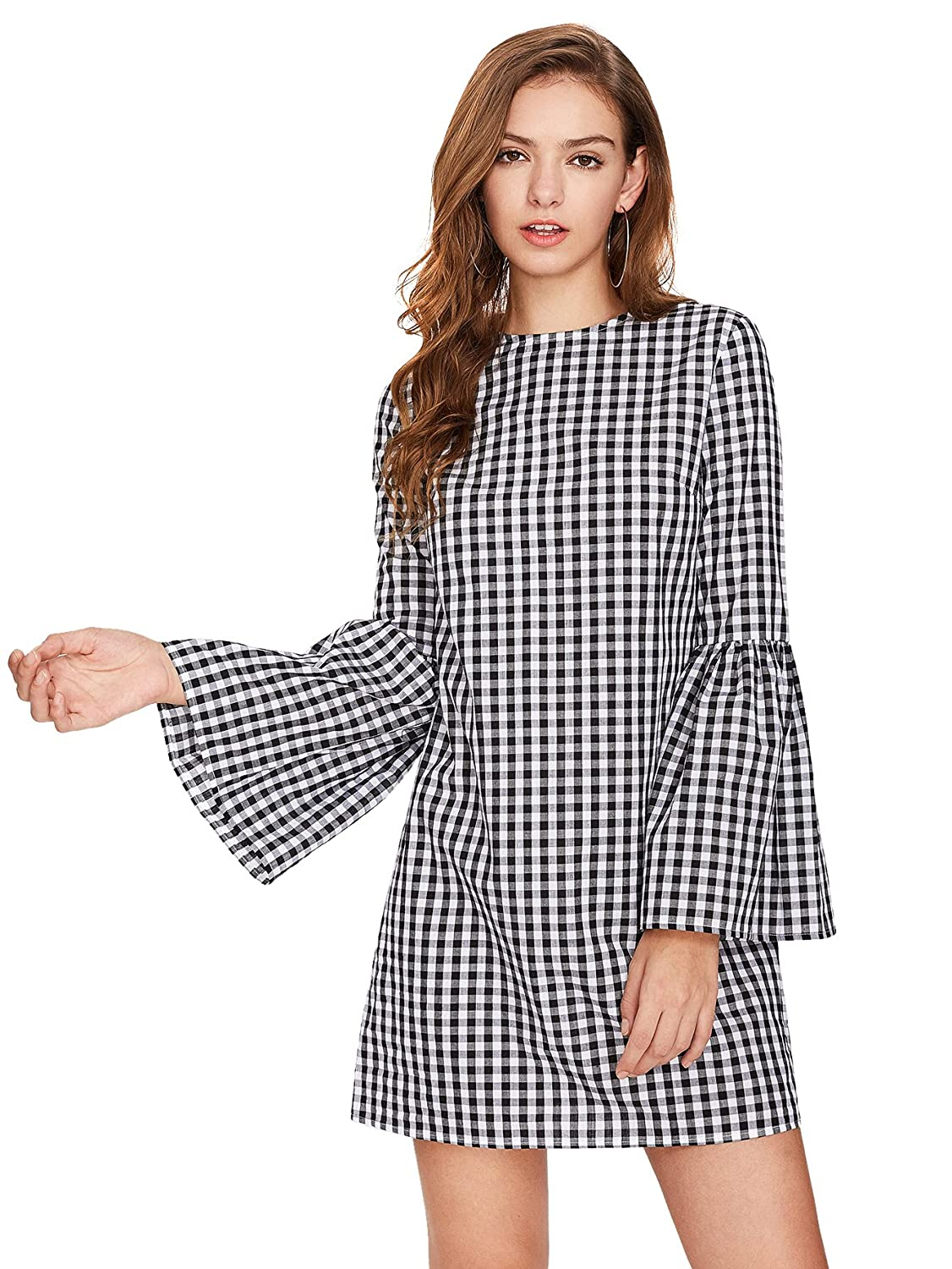 2fa1c19b63ca Floerns Women's Bell Long Sleeve Shift Gingham Dress at Amazon Women's  Clothing store: