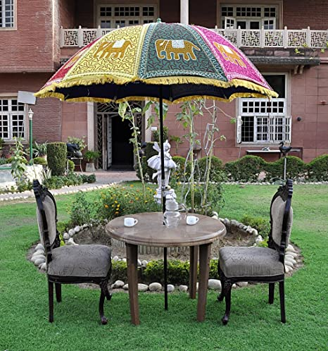 Lalhaveli Elephant Embroidery Design Garden Umbrella For Birthday Party Decoration 52 X 72 Inches