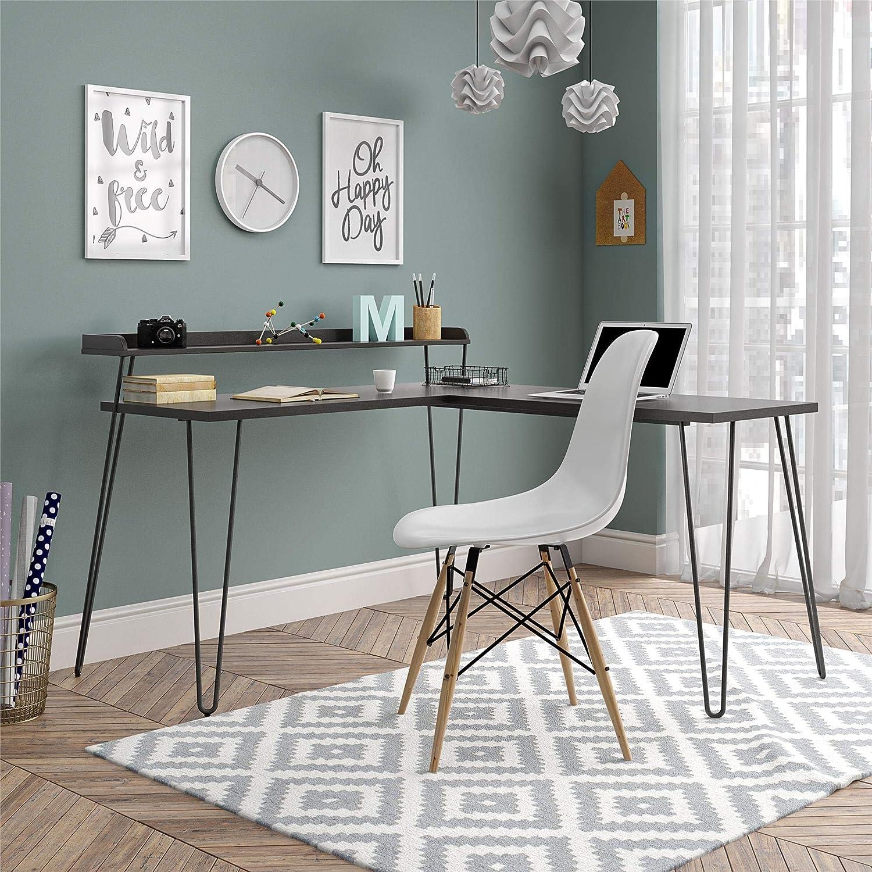 Ameriwood Home Haven L Riser, Espresso Desk,