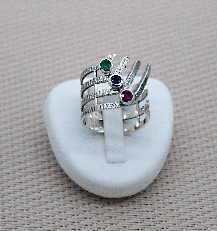 Anillo de plata con múltiples piedras para mujer. Anillo semi abierto de piedras preciosas naturales de plata