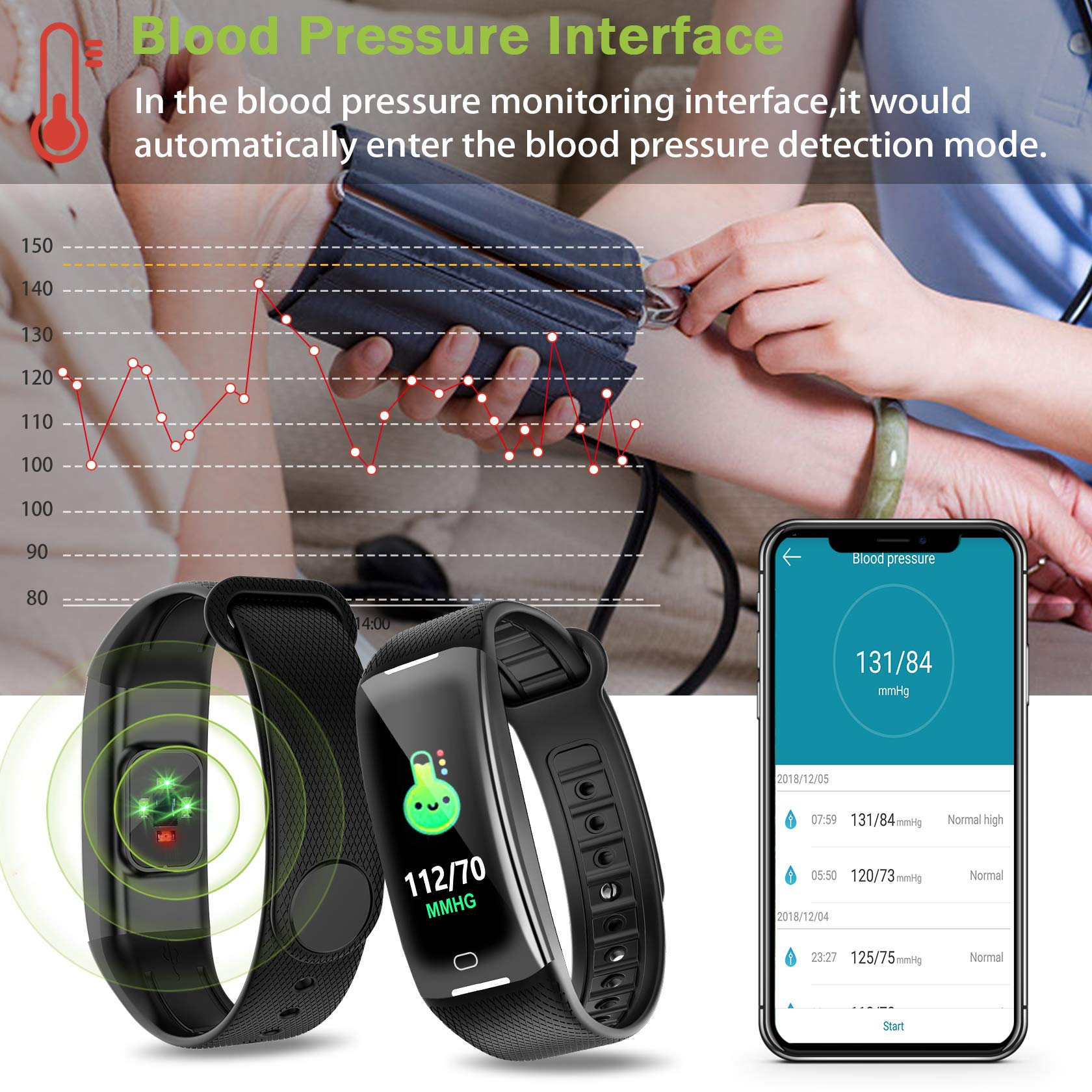 KARSEEN Fitness Tracker Smart Watch H3 Color Screen for Blood Pressure and Heart Rate Monitor Phone Enabled IP67 Waterproof Pedometer Sports Watch for Men (Black) by KARSEEN (Image #4)