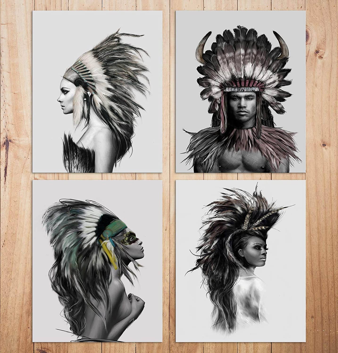Wall Decor Prints Native Americans Painting Wall Art For Living Room Vintage Pictures Home Decor Poster Artwork (Set of 4) -Unframed - 8x10in