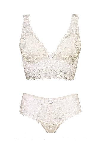 6783a6aa95 Este conjunto está hecho con un delicado encaje blanco que es suave y no  molesta en la piel. El diseño del bralette es cómodo y flexible