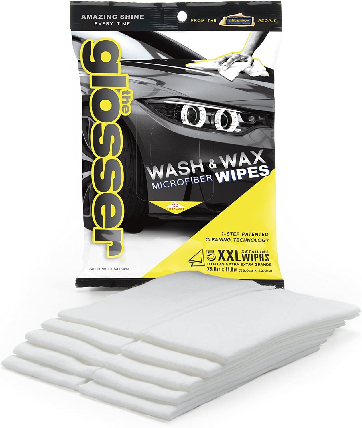 Clean Tools 99006M The Glosser Microfiber Detailing Wipes, 5-Pack: Automotive
