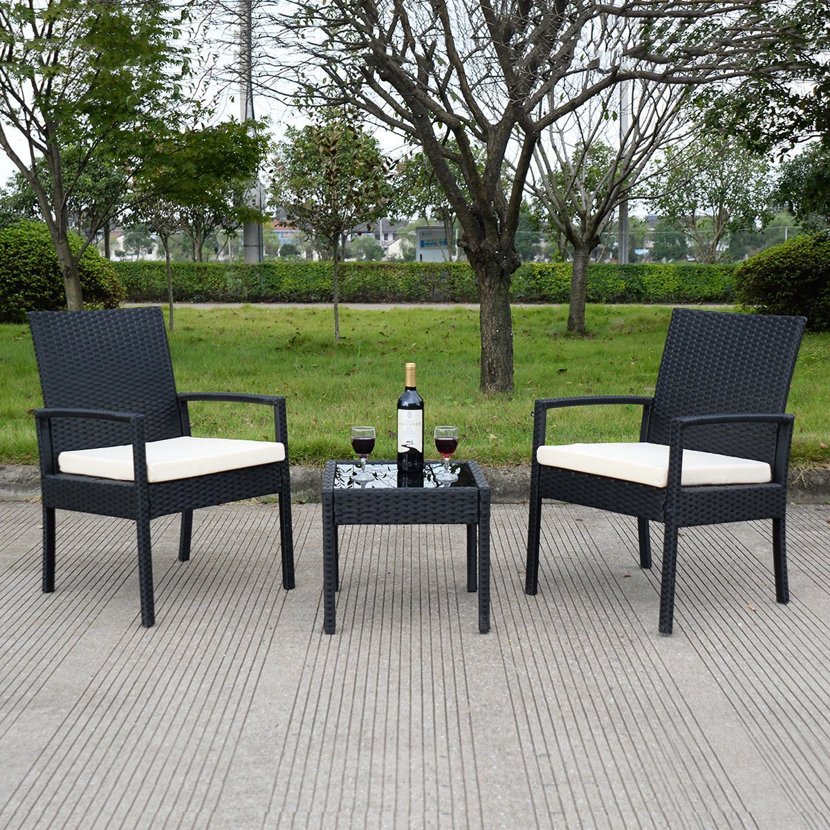 patio living outdoor coffee table wicker chair rattan furniture set seat outsunny garden