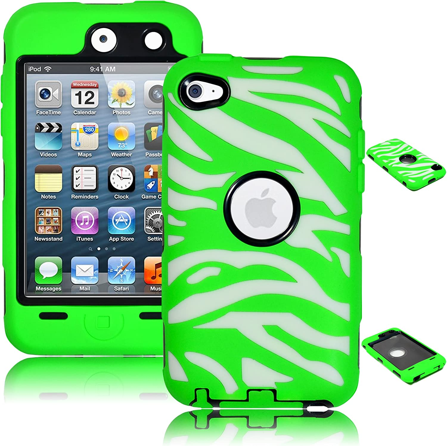 Bastex Heavy Duty Hybrid Case for Touch 4, 4th Generation iPod Touch - White Silicone/Green Zebra Print Hard Shell