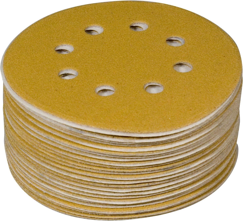 "POWERTEC 44032G-50 Gold 5"" Hook and Loop Sanding Disc | 8 Hole | 320 Grit – 50 Pack"