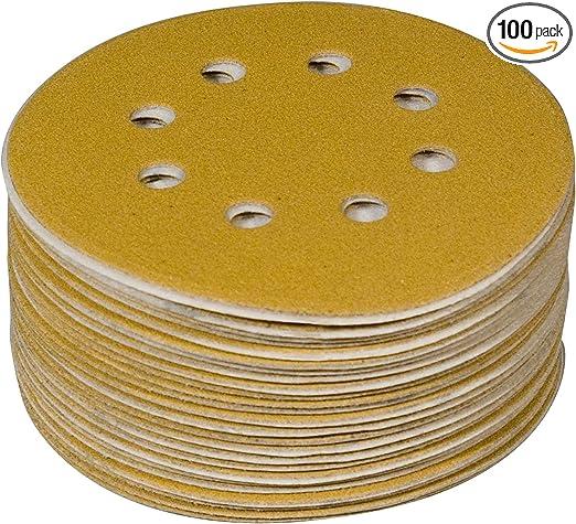 """5/"""" Inch 8 Holes 220 Grit Hook /& Loop Sanding Discs Orbital DA Disks 100 Pack"""