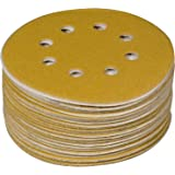 POWERTEC 44022G-50 Gold Disco de lixamento de gancho e laço de 12,7 cm | 8 furos | Gramatura 220 – Pacote com 50