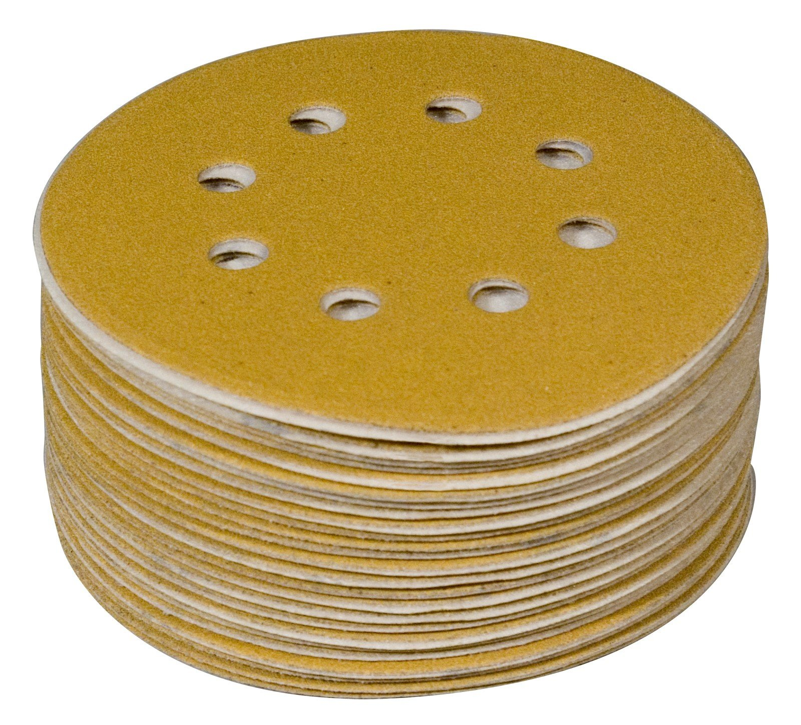 POWERTEC 44022G-50 5'' 8 Hole 220 Grit Hook and Loop Sanding Discs - Gold (50 Pack)