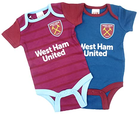 buy popular 9b305 63847 Official West Ham United Football Club New Season Home & Away Kit Twin Pack  Bodysuit Baby Grows Size 0-3 Months Blue White