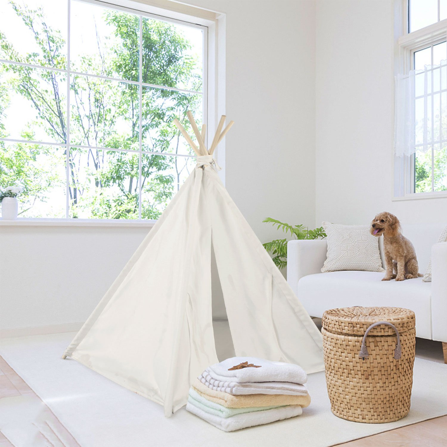 UKadou Pet Teepee Tent for Dogs Cats Foldable Portable Cotton Canvas Pet Bed House for Rabbit Puppy 5 Poles Pine Wooden with Floor White Color 24 Inches (Pine White Style)