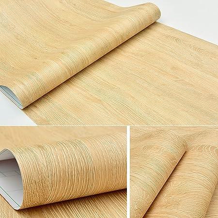 Self Adhesive Faux Yellow Oak Wood Grain Contact Paper For