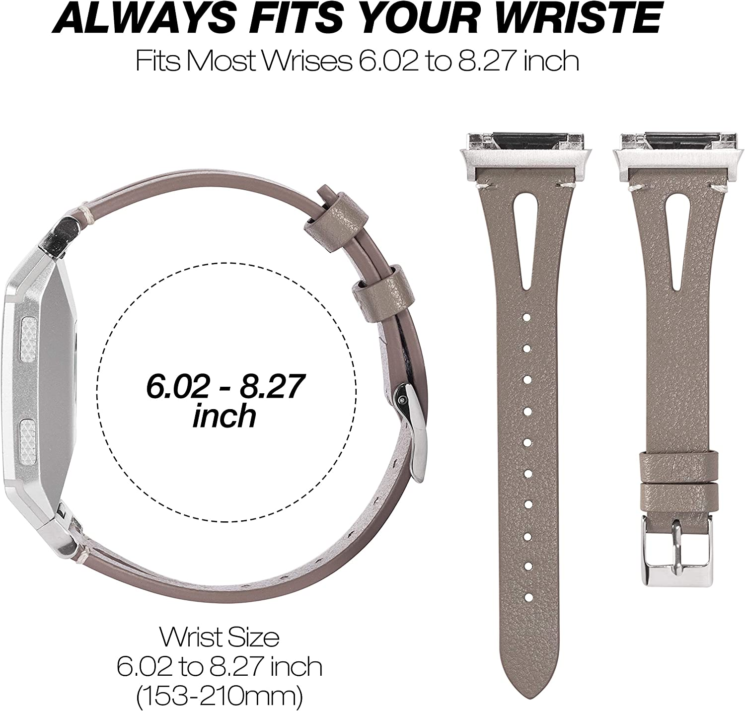 Genuine Leather Replacement Band Bracelet Compatible with Fitbit Ionic Small Large Wearlizer Compatible for Fitbit Ionic Bands Women Men