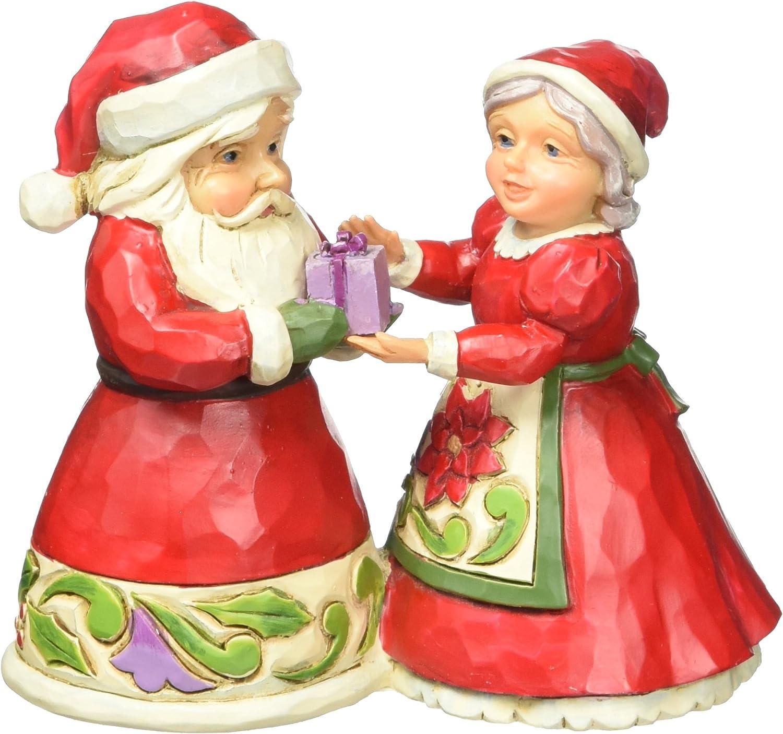 "Jim Shore Heartwood Creek Mini Santa and Mrs. Claus Stone Resin Figurine, 3.125"""