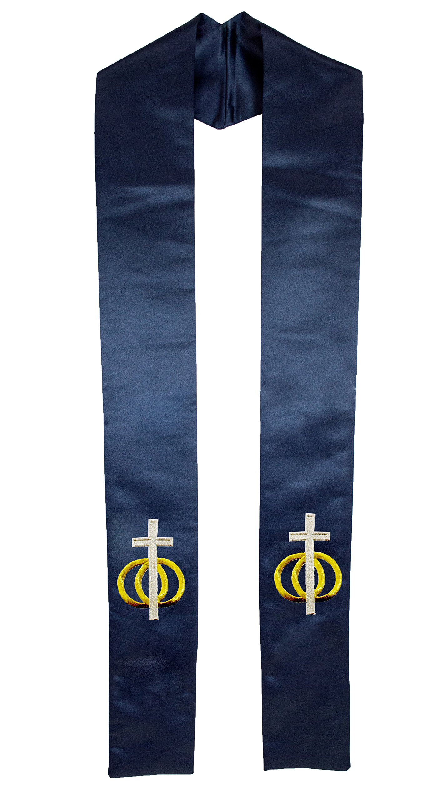 Deluxe Blue Satin Clergy Stole with Embroidered Wedding Rings Unity Cross