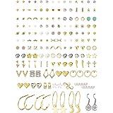 Udalyn Juego de 80 pares de pendientes de tuerca surtidos para mujer, con diseño de estrella, luna y corazón, bola de imitaci