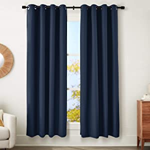 "AmazonBasics 100% Blackout Textured Linen Window Panel with Grommets and Thermal Insulated, Noise Reducing Blackout Liner - 52"" x 84"", Navy Blue"