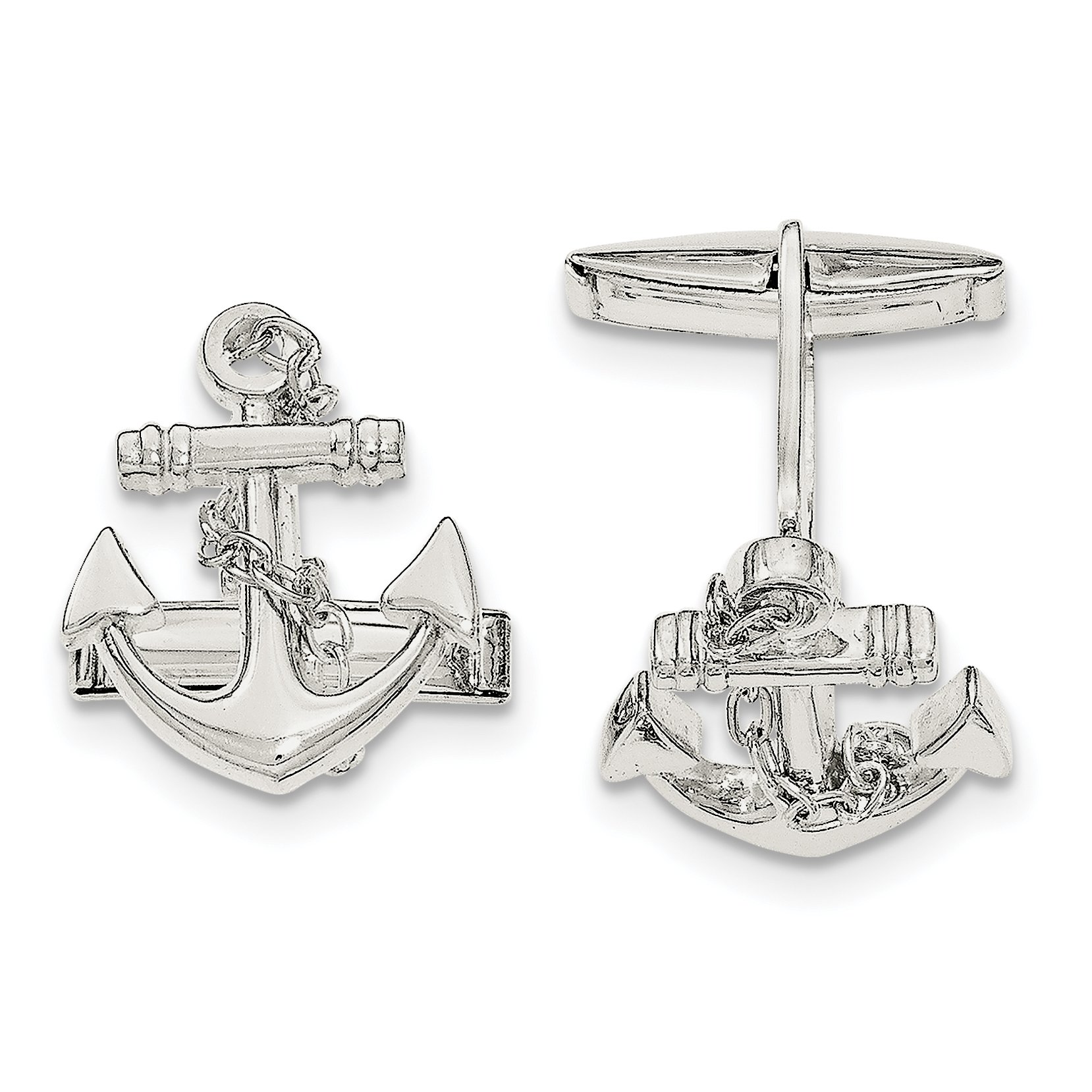 ICE CARATS 925 Sterling Silver Nautical Anchor Ship Wheel Mariners Dangle Rope Cuff Links Mens Cufflinks Link Man Fine Jewelry Dad Mens Gift Set by ICE CARATS