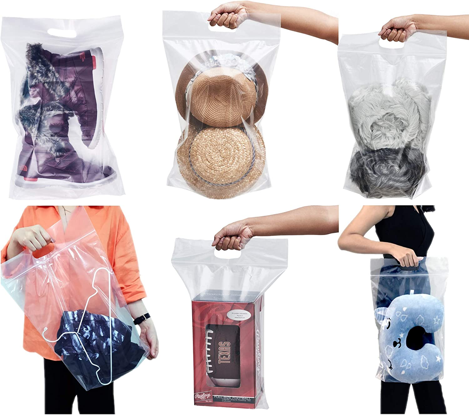 12 pieces of Zipper Heavy duty Clear Plastic Poly Bags Resealable Storage Shoes, Boot, Clothing, Linens, Books, Toys and others, a pleated expandable bottom. (Boot & Utilities Bags)