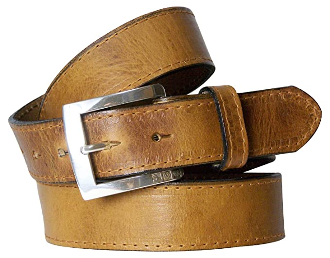 silver-plated buckle interchangeable FRONHOFER Chic mens natural leather belt