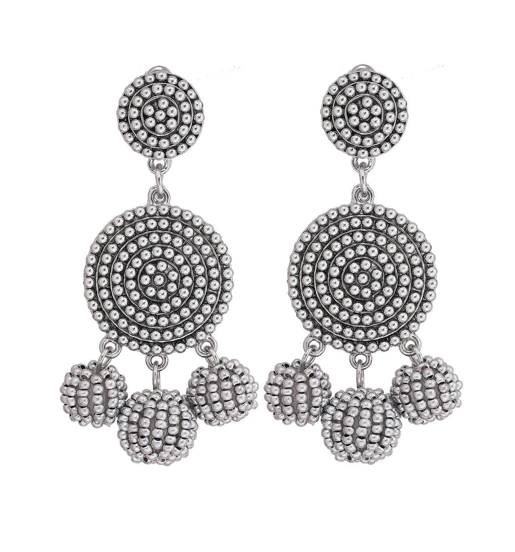 ELEARD Beaded Earrings Elegant Soriee Dangle Bead Disc Bead 3 Ball Dangle Ear Drop Bead Tassel Earrings for Women Girl (Silver)