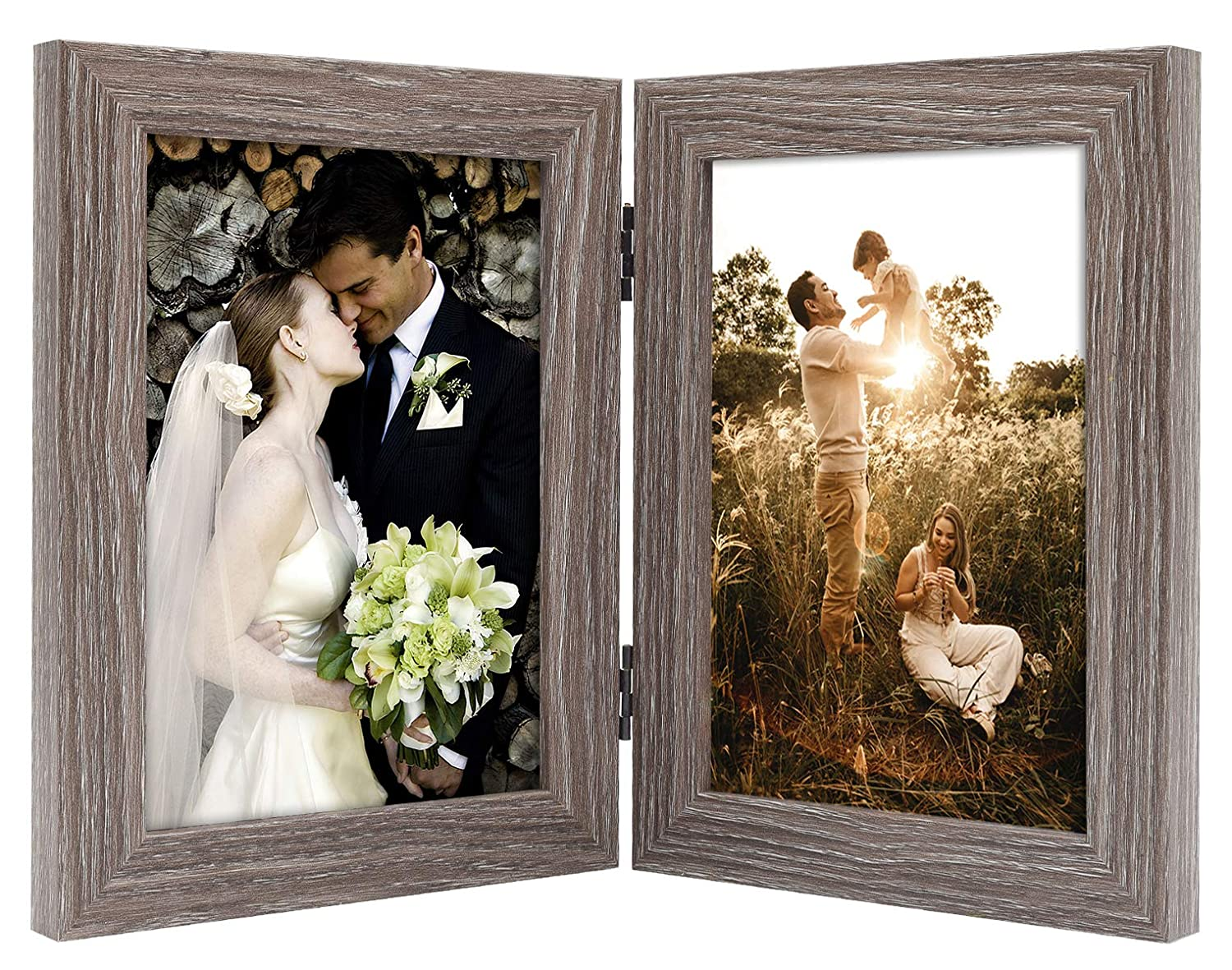 Decorative Hinged Table Desk Top Picture Photo Frame 2 Vertical Openings with Real Glass 4x6 Double, Black Golden State Art