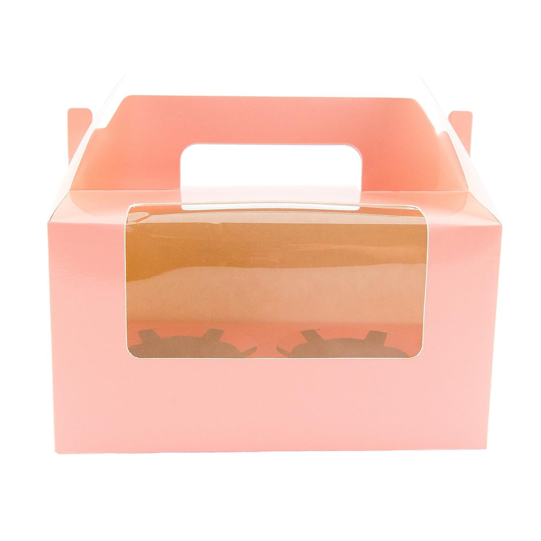 10 cajas rosas para transportar 2 magdalenas decoradas, con ventana y asa: Amazon.es: Hogar