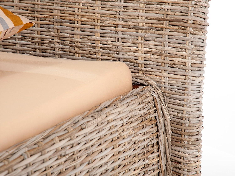 massivum Bett Barika 180x200cm Kubu-Rattan grau lackiert: Amazon.de ...