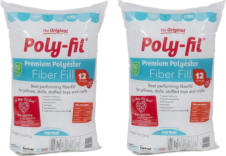 12 oz White 2 Pack Fairfield FAIPFT12 Fiber Poly Fil Bag