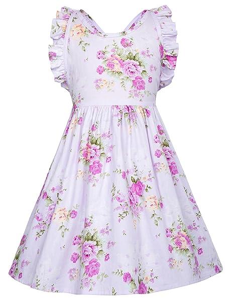 GRACE KARIN Niña Vestido de Flores sin Mangas Vintage para Fiesta Vestido de Noche 2~
