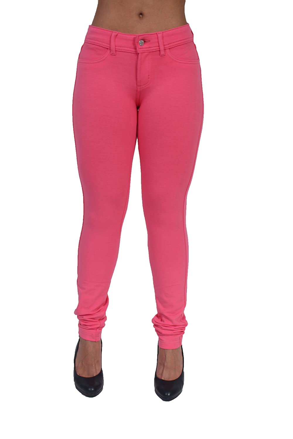 Basic Brazilian Cut Sexy French Terry Moleton Skinny Pants in Hot Pink JW-2121HPNK