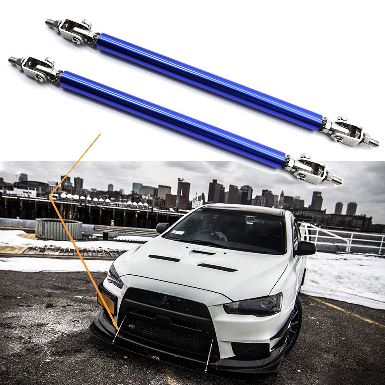 Blue 2pc Adjustable 8-11 Front Bumper Lip Splitter Diffuser Strut Rod Tie Bars Fit Most Vehicles