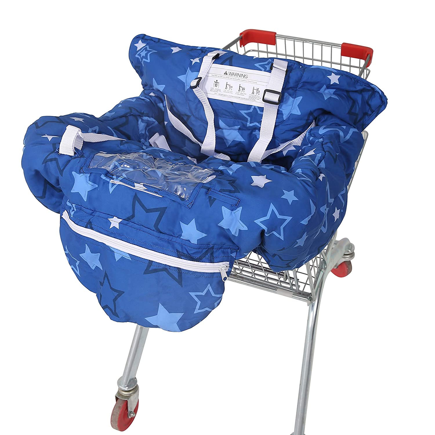 Blue Carry Bag Attached High Chair Cover for Baby and Toddler SDADI 2-in-1 Shopping Cart Cover Unisex for Boy or Girl