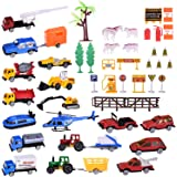 Diecast Cars 48pcs Mini Various Cars with Police Cars, Farm Toys, Construction Trucks, Fire Extinguisher and Accessories - Birthday Gifts, Egg Filler