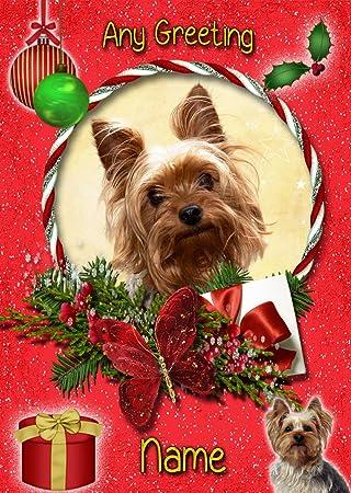 Felicitacion Navidad Personalizada Fotos.Yorkie Yorkshire Terrier De Tarjeta De Navidad Personalizada