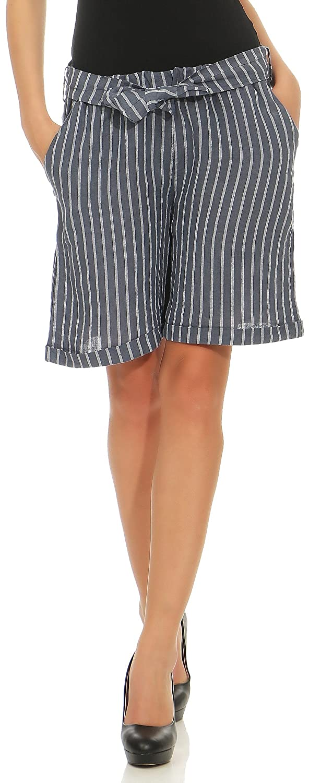 Malito Damen Shorts aus Leinen   lä ssige Kurze Hose   gestreifte Bermuda   Pants - Hotpants 6820