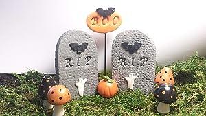 Fairy garden accessories, dollhouse, terrarium décor. Halloween 8 piece set.