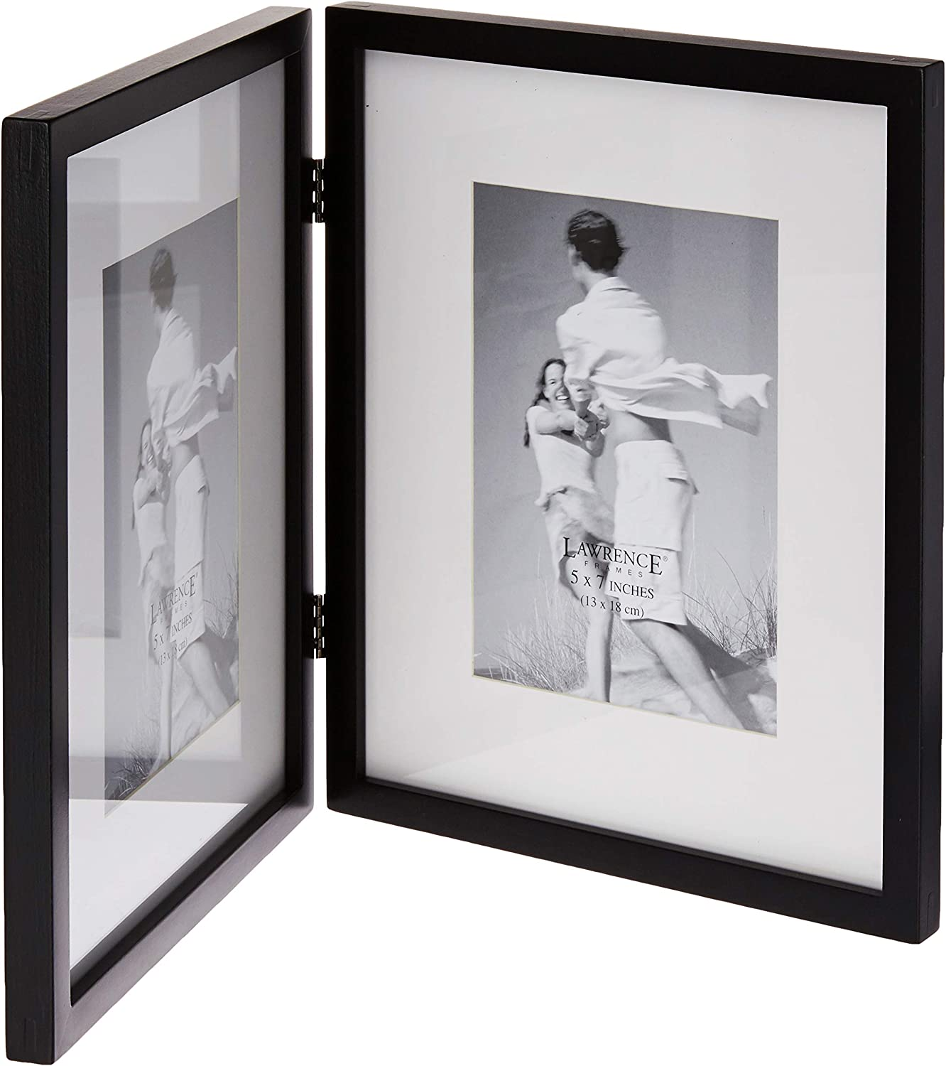 Lawrence Frames Black Wood 8 By 10 Hinged Double Picture Frame Matted To 5 By 7 Amazon Co Uk Kitchen Home